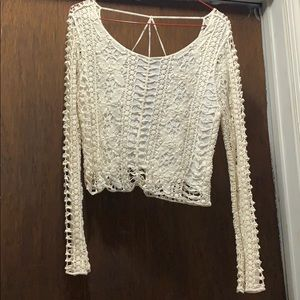 Long Sleeve White Crochet Crop Top